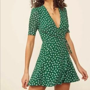 Reformation Green Wrap Dress - Small